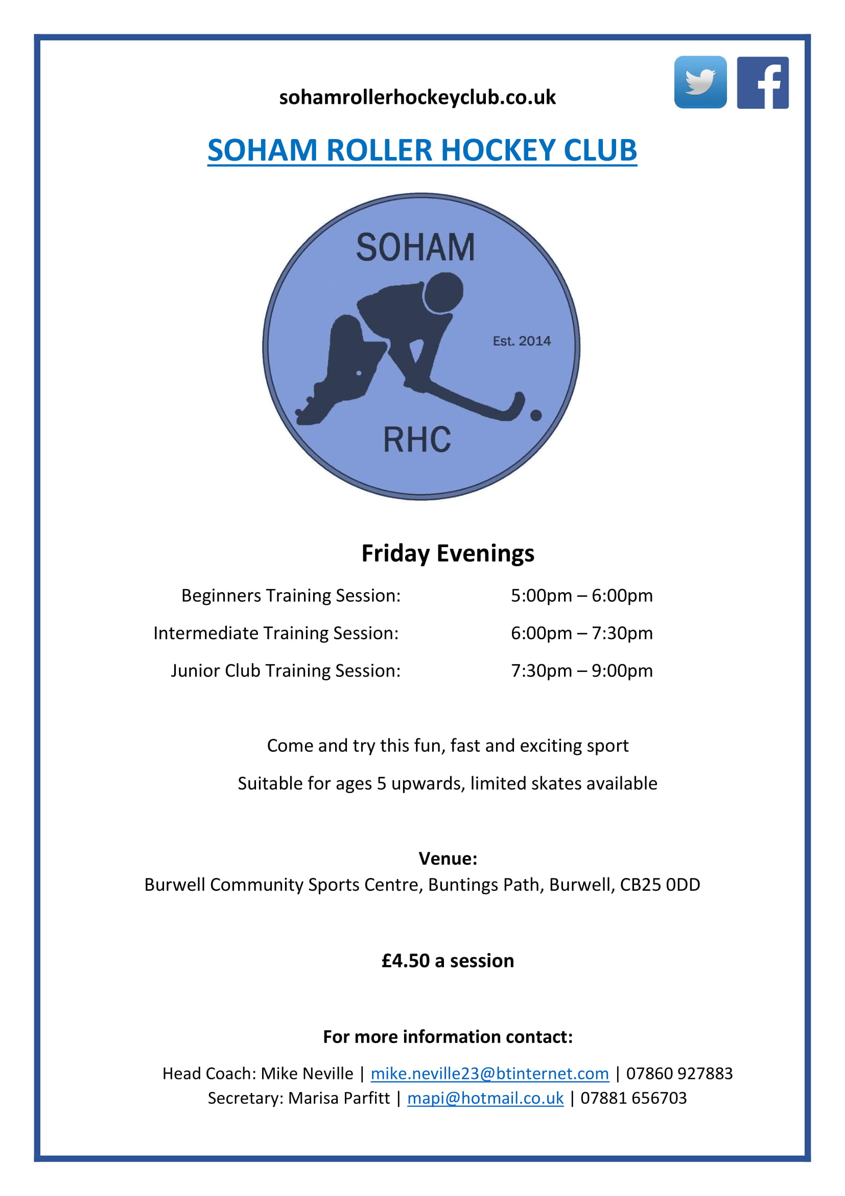 Soham RHC Beginner / Junior Sessions